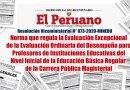 R.VM. N° 073-2020-MINEDU: Norma que regula la Evaluación Excepcional de la Evaluación Ordinaria del Desempeño para Profesores de Instituciones Educativas del Nivel Inicial de la Educación Básica Regular de la Carrera Pública Magisterial