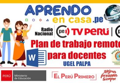 APRENDO EN CASA: Plan de trabajo remoto para docentes – UGEL PALPA [WORD]