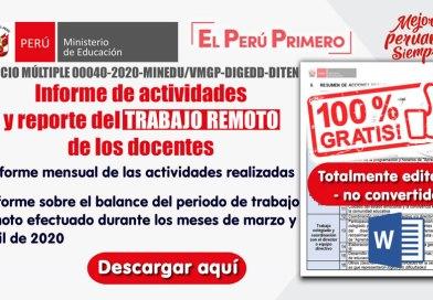 FORMATO: Informe mensual de actividades y balance del mes de marzo y abril del TRABAJO REMOTO del docente [WORD] [Editado – no convertido]