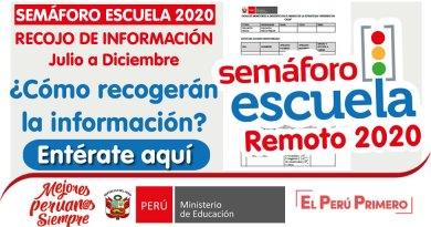 SEMÁFORO ESCUELA REMOTO 2020: RECOJO DE INFORMACIÓN Julio a Diciembre ¿Cómo recogerán la información? [Entérate aquí]