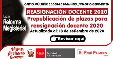 REASIGNACIÓN DOCENTE 2020: Prepublicación de plazas para reasignación docente 2020, actualizado al 18 de setiembre de 2020