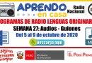 PROGRAMAS RADIALES EN LENGUAS ORIGINARIAS: Sesiones y Audios – Semana 27 [Del 5 al 9 de octubre de 2020]