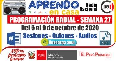 PROGRAMACIÓN RADIAL SEMANA 27: ¡DESCARGA AQUÍ! -Sesiones y Audios  [Word y mp3] [Del 5 al 9 de octubre de 2020]
