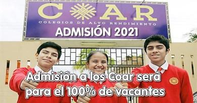 COAR 2021: MINEDU anuncia que Admisión a los Coar será para el 100% de vacantes