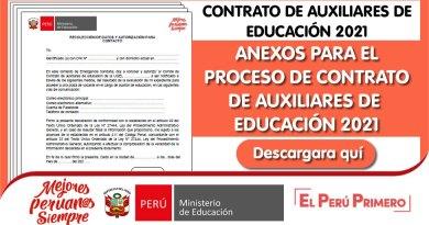 CONTRATO DE AUXILIARES DE EDUCACIÓN 2021: Anexos para el proceso de contrato [Descargar aquí]