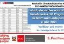 Listado de locales educativos beneficiarios del Programa de Mantenimiento para  el año 2021, Resolución Directoral Ejecutiva N° 011-2021-MINEDU-VMGI-PRONIED-DE [Verificar el monto que le corresponde a tu IIEE]