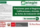 COMUNICADO: Precisiones para el Registro de Calificaciones y Emisión  de Actas de Evaluación 2020 [Ver aquí]