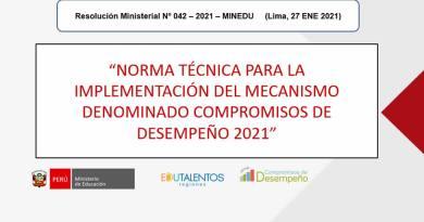 Implementación del Mecanismo Denominado COMPROMISOS DE DESEMPEÑO 2021 (RM Nº 042-2021-MINEDU)[Resultados TRAMO 01]