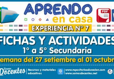 FICHAS Y ACTIVIDADES DE APRENDIZAJE (1° a 5° SECUNDARIA – Por áreas) – Semana del 27 de setiembre al 01 de octubre del 2021 [Experiencia de Aprendizaje N° 7]