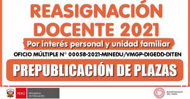REASIGNACIÓN DOCENTE 2021: PREPUBLICACIÓN DE PLAZAS para reasignación docente 2021, por interés personal y unidad familiar (Ver más información)