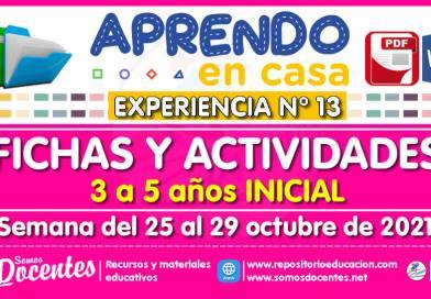 FICHAS Y ACTIVIDADES DE APRENDIZAJE (3 a 5 años INICIAL) – Semana del 25 al 29 de octubre del 2021 [Experiencia de Aprendizaje N° 13]