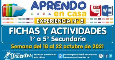 FICHAS Y ACTIVIDADES DE APRENDIZAJE (1° a 5° SECUNDARIA – Por áreas) – Semana del 18 al 22 de octubre del 2021 [Experiencia de Aprendizaje N° 8]