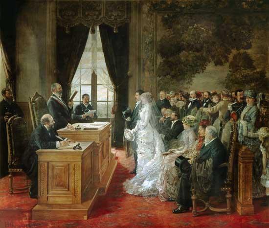 Titre de l'image : Henri Gervex - Le mariage des Mathurin Moreau dans l'hôtel de ville de Paris.