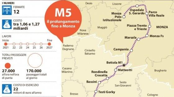 Milano, il nuovo tracciato di M5: due fermate in più per collegare il metrò alla stazione di Monza