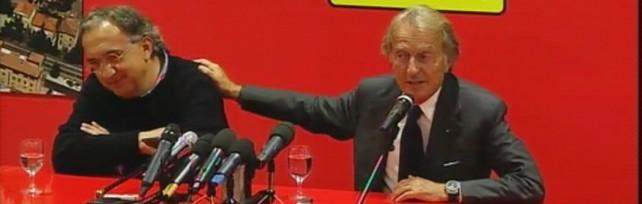 Marchionne e Montezemolo durante la conferenza stampa del cambio al vertice della Ferrari
