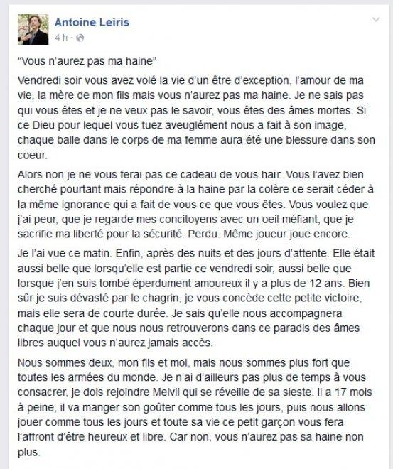 """""""Non avrete mai il mio odio"""": la lettera del marito di una vittima di Parigi"""