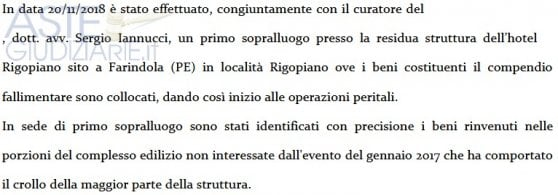 """Rigopiano, auctioned off the hotel assets saved by the avalanche. Relatives of the victims: """"Macabro brindisi"""""""
