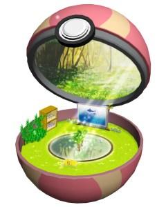 Inside of a pokeball, like a mini terrarium