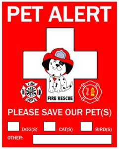 Pet alert sticker for reptile fire safety