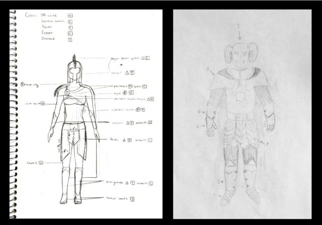 dragon slayer costume sketches