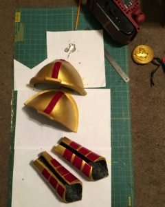 Fire dragon slayer costumer - pauldrons, vabraces, and brooch
