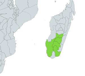 Dumeril's boa native range - Madagascar