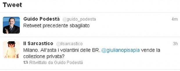 Twitter, gaffe di Podestà su Br e Pisapia