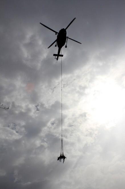 Urbino, l'asinella intrappolata nel fango salvata con l'elicottero