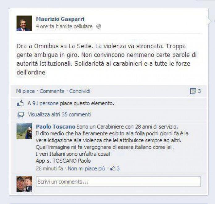 Gasparri, il carabiniere risponde alla provocazione. E il web lo segue