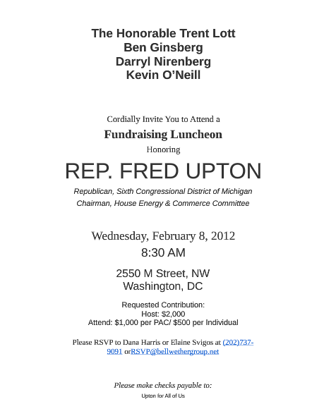 Rep. Upton Set To Host Hearing To Vilify EPA's Boiler Regulations Hours After Fundraising With Boiler Lobbyists