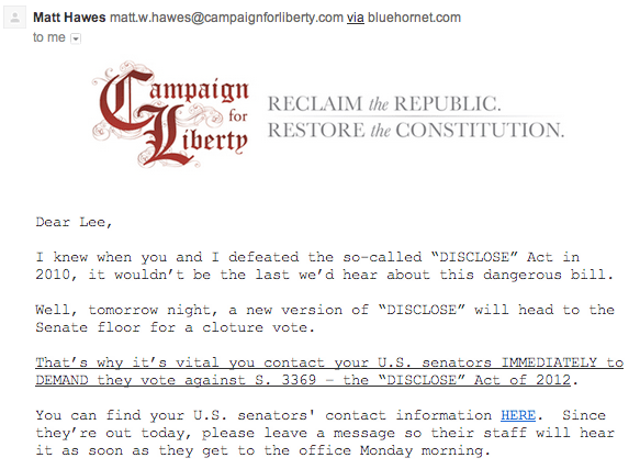 Ron Paul Org Urges Defeat Of DISCLOSE Act; Nonsensically Claims Disclosure Of Political Slush Funds Would Hamper Effort Against The TSA