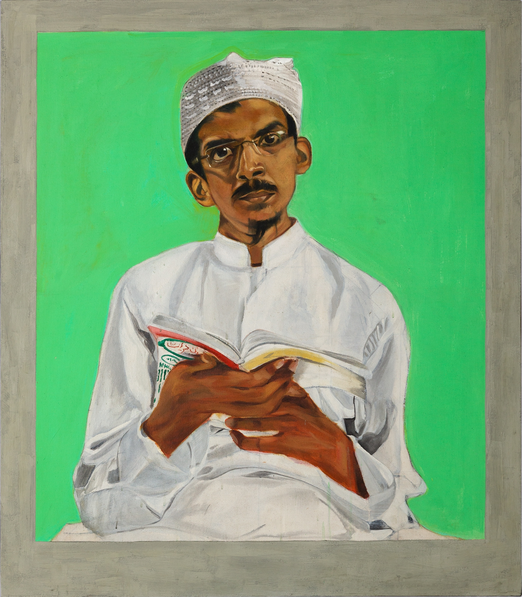 Mahindra Vartak, Portrait of Abdul Azim Kazi, Faith Healer. Plastic paint on canvas, 2015. Acquired for Wellcome Collection, London
