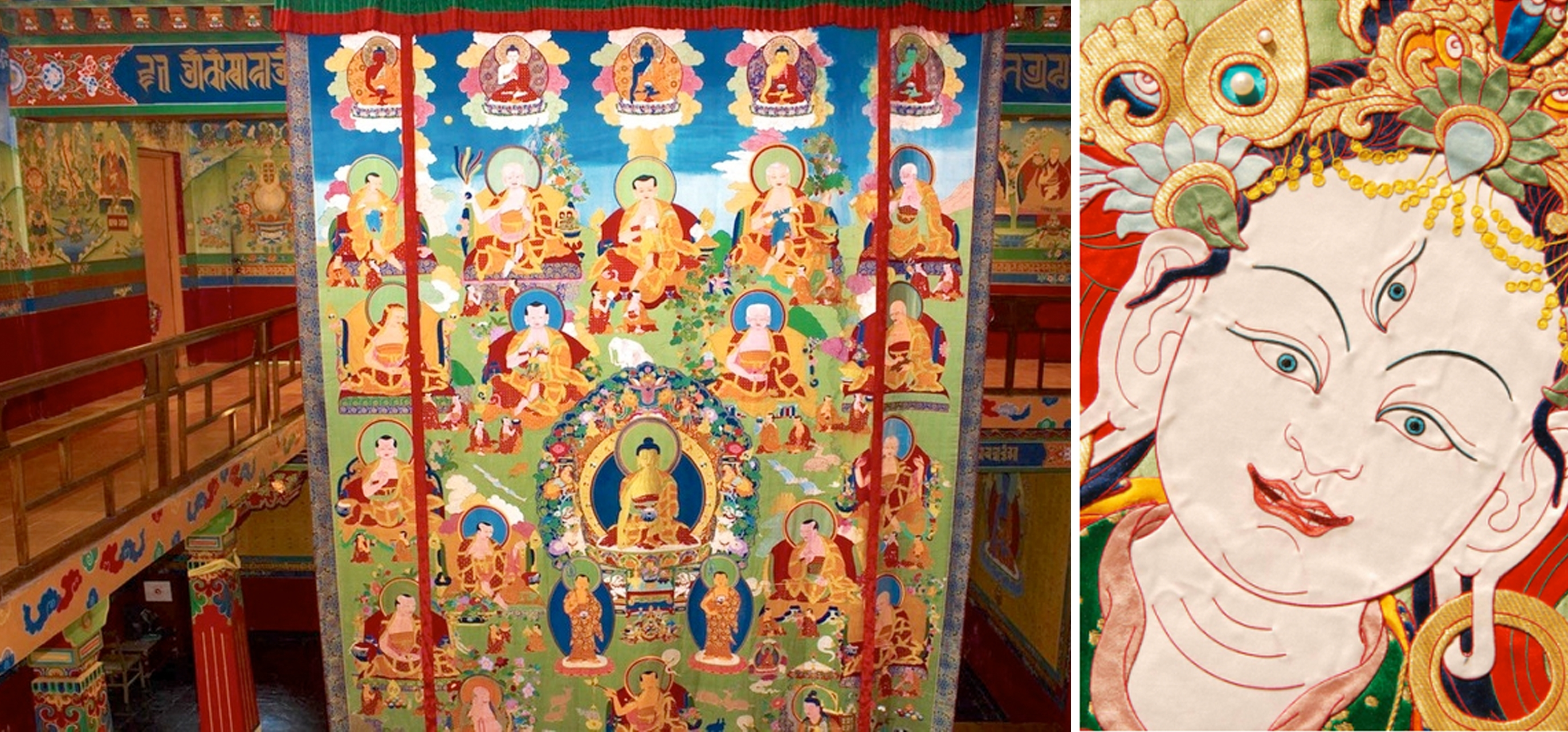 From ceiling thangka applique