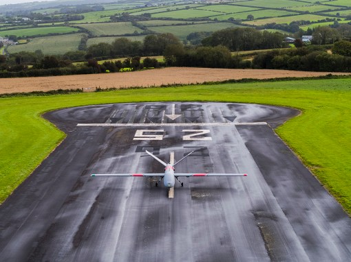 Elbit Systems Hermes 900 on the runway at Aberporth airport