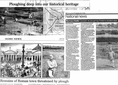 Coverage of the Verulamium story in the national press on 16th and 17th July