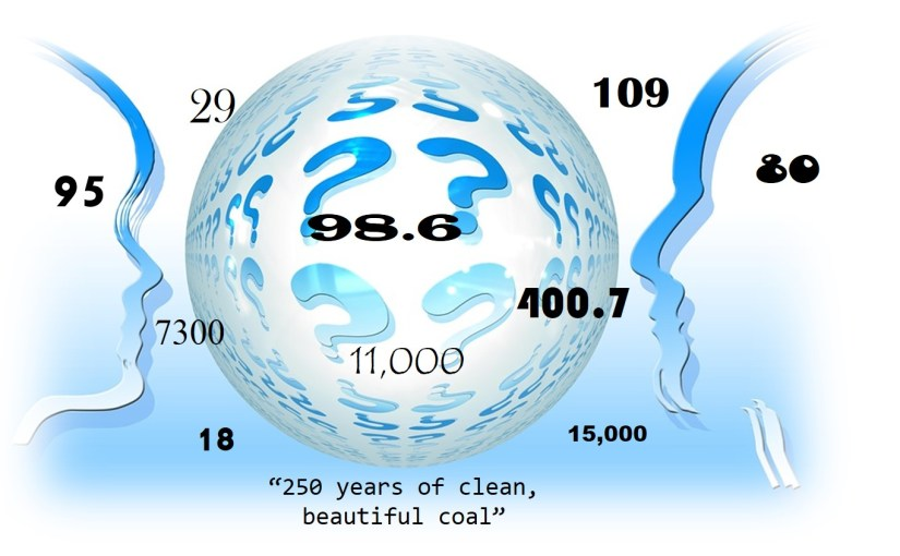 "Numbers for pondering: ""250 years worth of clean, beautiful coal"""