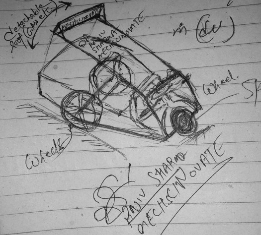 Curved, three wheeler vehicle, Rajiv. S