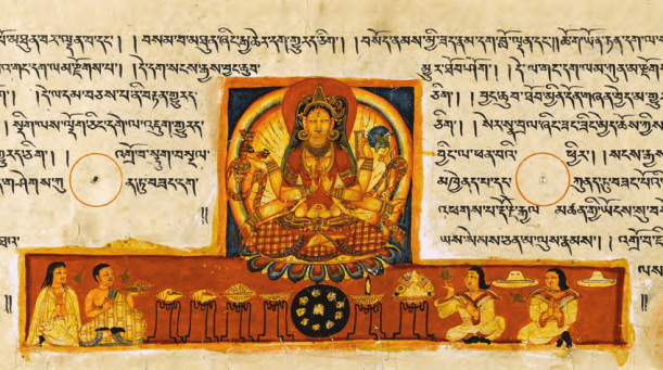 Detail) Prajñāpāramitā with devotees, folio from a Śatasāhasrikā...    Download Scientific Diagram