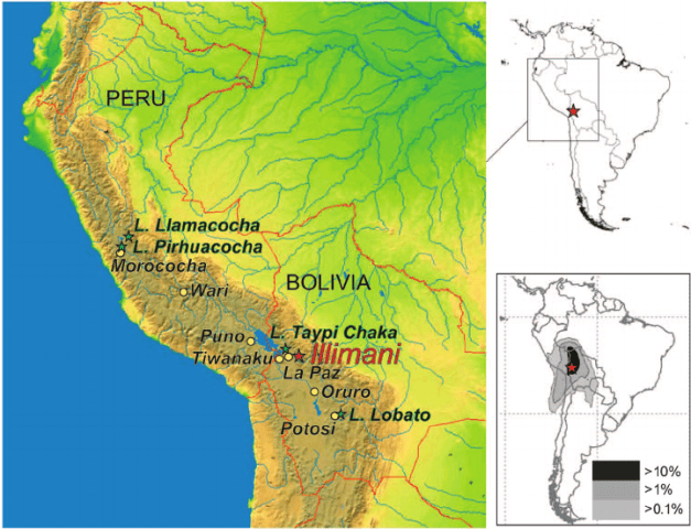 Location of the drilling area and sites mentioned in the text  Upper     Location of the drilling area and sites mentioned in the text  Upper right  Map  of South America with the Illimani drilling site  red star