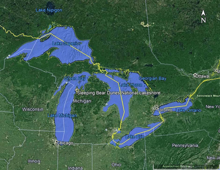 Google map of the state of Michigan and surrounding states in the     Google map of the state of Michigan and surrounding states in the USA and  western part of the province of Ontario  Canada  showing the location of  the