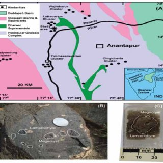 PDF  A note on the origin of Clinopyroxene     A  Geological map of the Wajrakarur kimberlite field in the eastern