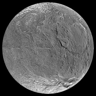 The Iapetus Moon seen from different viewpoints. From top ...