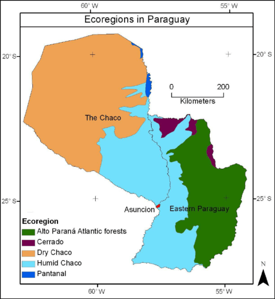 1. Map of Paraguay showing the three general regions and the Ecoregions...  | Download Scientific Diagram