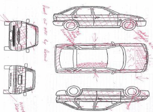 Sketch of the damage to the case vehicle of 00581AVA