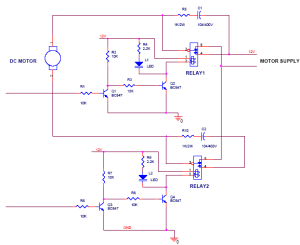 The circuit diagram for dc motor for forward and reverse