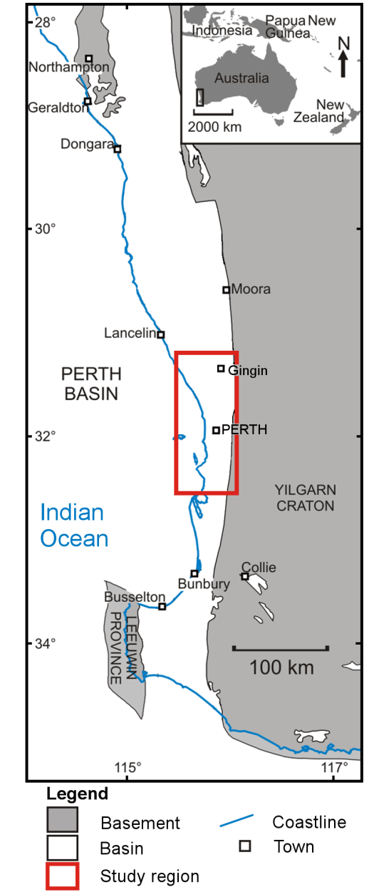 1: Location of the study area in the Perth Basin. Red box ...