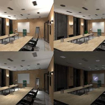 scenes of lighting in a conference room