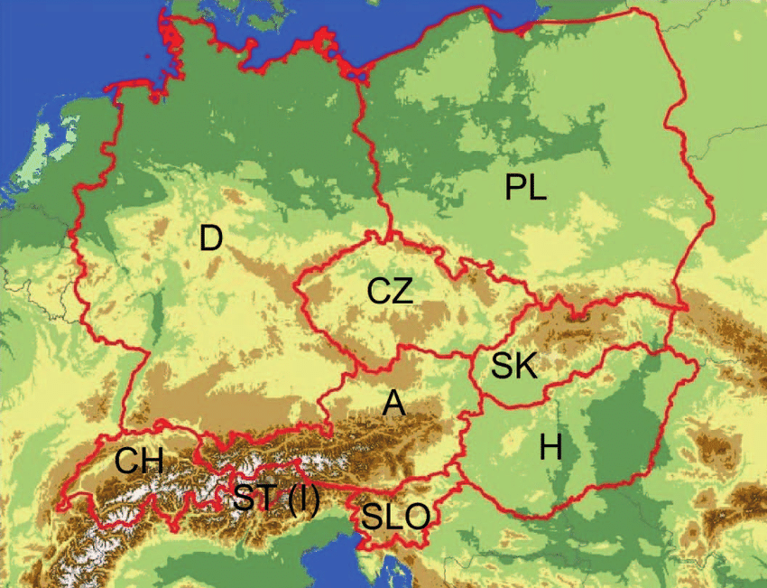 Topography of the nine Central European countries investigated     Topography of the nine Central European countries investigated