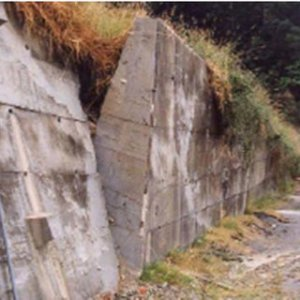 Trapezoidal concrete gravity retaining wall which rotated outward due | Download Scientific