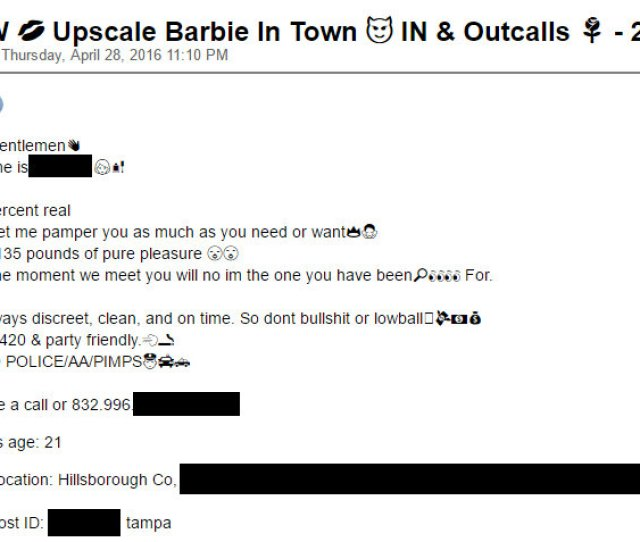 A Real Post From Backpage Com To Ensure Anonymity The Personal Information Has